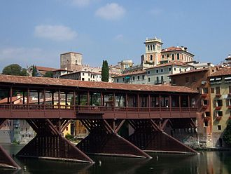 Bassano del Grappa - Ponte degli Alpini and Upper Castle.
