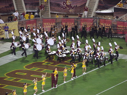 Sun Devil Marching Band Battery, performing the pregame drum cadence in 2007 BatteryPregameCadence.jpg
