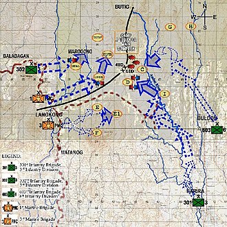 Battle of Camp Abubakar - Positions of three Philippine Army brigades and two Philippine Marine Corps brigades in relation to Camp Abubakar's central complex during the sixth day of the battle.