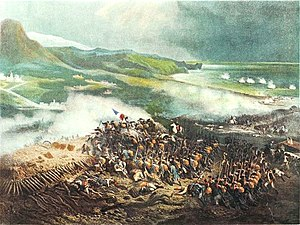Colored painting of Battle of Loano by Joseph Louis Hippolyte Bellangé