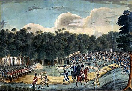 A cartoon painting done some years later of the Battle of Vinegar Hill, artist unknown, from the Australian National Library Battle of VinegarHill.jpg