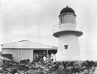 Bay Rock Light - Bay Rock Light, 1917. The keeper's house can be seen on the left
