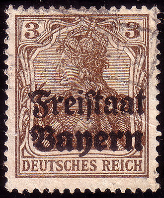 Germania (stamp) - Use of Germania stamp in Bavaria, 1919