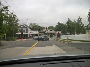 Bayport, New York - Bayport Avenue as it approaches Middle Road