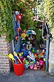 Beach toys for sale at garden gate in Broadstairs Kent England.jpg