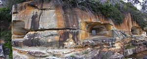Sydney Heads - The Beehive Casemate was carved into the cliff face at Obelisk Bay on Sydney Harbour in 1871.