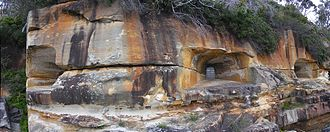 Sydney Harbour defences - The Beehive Casemate was carved into the cliff face at Obelisk Bay on Sydney Harbour in 1871