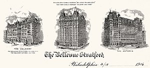 The Bellevue-Stratford Hotel - Engraved 1916 letterhead of the Bellevue-Stratford Hotel with vignettes of the hotel as well as those of the Waldorf and Astoria Hotels in New York all of which were then operating under the management of George Boldt