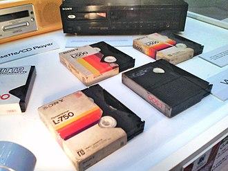 Betamax - Betamax tapes on display at a museum.