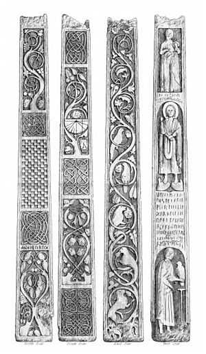 Bewcastle Cross - The four faces of the cross: west, south, east and north