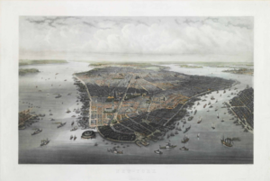 History of New York City (1784–1854) - Bird's-eye view of New York City, 1851