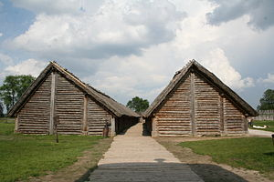 Post-and-plank - Reconstruction of building remains found at Biskupin, Poland. from circa 738 B.C.