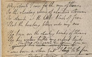 Notebook of William Blake - Image: Blake manuscript Notebook 12 Why should I care for the men of thames