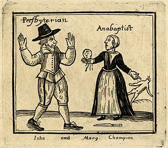 British Anabaptism - Anabaptist woman holding severed child's head