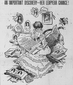 A spinster eagerly awaits the upcoming leap day, in this 1903 cartoon by Bob Satterfield. Bob Satterfield cartoon about leap year traditions.jpg