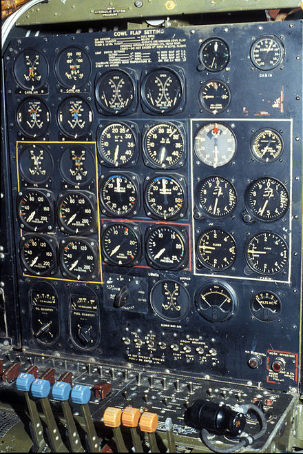 Flight Engineers station of Bockscar Boeing B-29 Bockscar cockpit 2 USAF.jpg