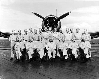 Richard Halsey Best - VB-6 pilots in January 1942: Best is seated 3rd from the left.