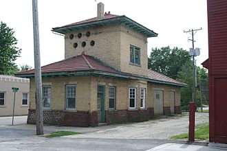 Bondville, Illinois - Old interurban rail station and power plant.