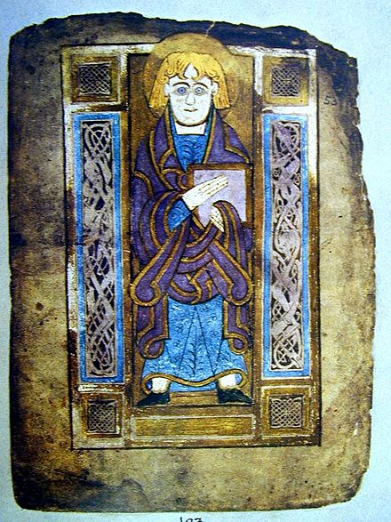 Saint John, evangelist portrait from the Book of Mulling, Irish, late 8th century BookMullingFol193StJohnPortrait.jpg