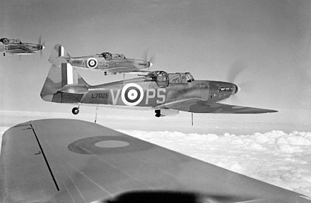 Four 264 Squadron Defiants (PS-V were shot down on 28 August 1940 over Kent by Bf 109s.) Boulton Paul Defiant.jpg
