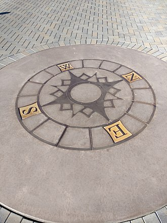 Compass rose - A 16-point compass rose on the grounds of a library serves both as a pedagogical device and public art