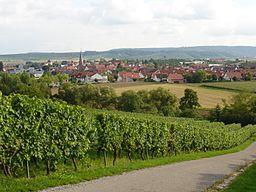 Die Stadt Brackenheim. Ziemlich genau nach Süden (~190°) fotografiert.