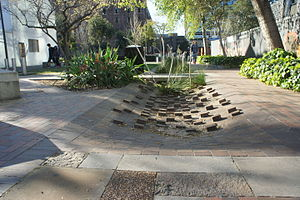 Balfour Street Park - The brick swale feature which slows water flow and captures any rubbish