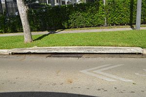 Tidal flooding - Saltwater in drain on a bayfront street (Brickell Bay Drive) in Miami just up to street level; while not a direct flood, this inhibits normal passive, gravity-based drainage.