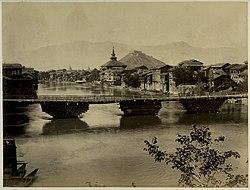 Fluss Jhelam in der Stadt Srinagar (ca. 1880)