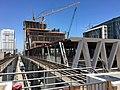 Brightline MiamiCentral station construction April 2018 from Gov Center metrorail.jpg
