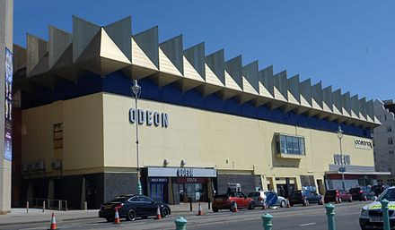 Odeon Kingswest on Brighton seafront opened in 1973. Brighton Odeon Kingswest Cinema, Junction of Kings Road and West Street, Brighton (from SW) (April 2013).JPG
