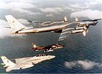 British Aerospace Sea Harrier British Aerospace Sea Harrier in formation with Tupolev Tu-95 and Grumman F-14 (16958560420).jpg