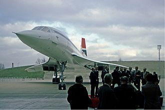 The official handover ceremony to British Airways of its first Concorde occurred on 15 January 1976 at Heathrow Airport British Airways Concorde official handover ceremony Fitzgerald.jpg
