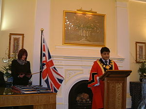 A British citizenship ceremony in 2005, at the...