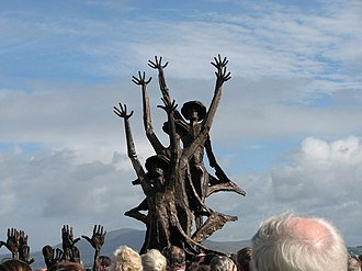 Ulster - A bronze statue commemorating The Flight of the Earls at Rathmullan in north County Donegal.