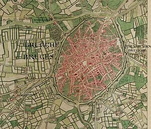 Joseph de Ferraris - Bruges on the Ferraris map