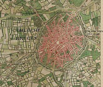 Joseph de Ferraris - Bruges on the Ferraris map