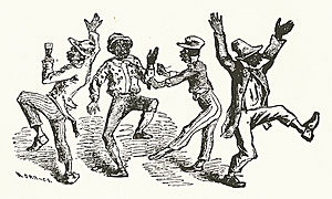 Walkaround - To conclude the walkaround, the semicircle disbanded and the performers danced together. Detail from a playbill of the Bryant's Minstrels, 19 December 1859.