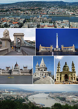 From top, left to right: Hungarian Parliament, Fisherman's Bastion, Sándor Palace guard, Heroes' Square, National Theatre, St. Stephen's Basilica and Széchenyi Chain Bridge by night