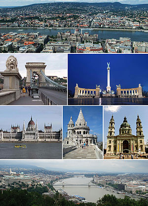 From top, left to right: view of the city with the Danube River, lion guarding the Chain Bridge, Heroes' Square, the Parliament Building, Fisherman's Bastion, St. Stephen's Basilica, and a panorama from Gellért Hill with Buda Castle on the left.