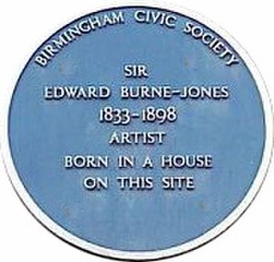 Birmingham Civic Society - BCS blue plaque on Bennetts Hill, marking the birthplace of Edward Burne-Jones