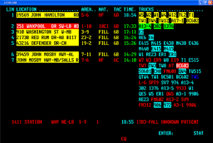 Computer-aided dispatch - The CAD system of a fire department on a busy day. The line at the bottom is about to be dispatched. (Note: addresses have been changed for privacy reasons.)