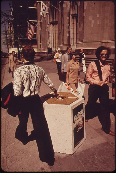 File:CEMENT LITTER BASKETS-A KEEP-NEW YORK-CLEAN INNOVATION ON FIFTH AVENUE. THE WEIGHT DISCOURAGES THEFT. SALE OF... - NARA - 549806.jpg