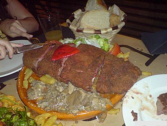 Cachopo (dish) - A cachopo, as served in the Asturias regions of Spain