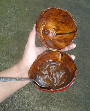 Kalamay - Opened Kalamay inside the coconut shell.
