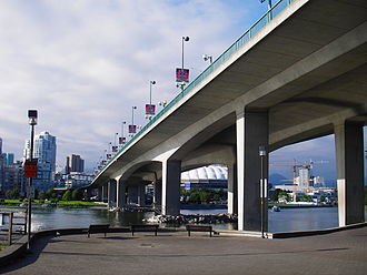 Cambie Bridge - Cambie Street Bridge from the south side of False Creek.