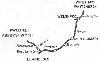 Abermule train collision - The section of the Cambrian Railways adjacent to Abermule Station, where the accident occurred