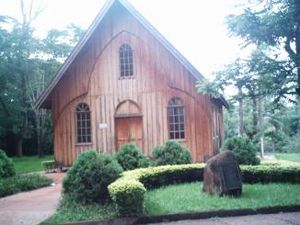Londrina - Reproduction in scale 2:3 of the first Anglican chapel of the city, today on the campus of the State University of Londrina.