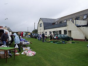 English: Car boot sale, Rosudgeon social club....