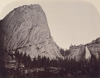 Conservation photography - Photo by Carleton E. Watkins (1829–1916) of Mt. Broderick and Nevada Fall (700 ft.) at Yosemite Valley in 1861